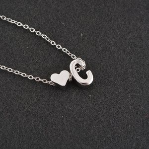 Jewelry - Dainty Heart & C Initial Monogram Charm Necklace